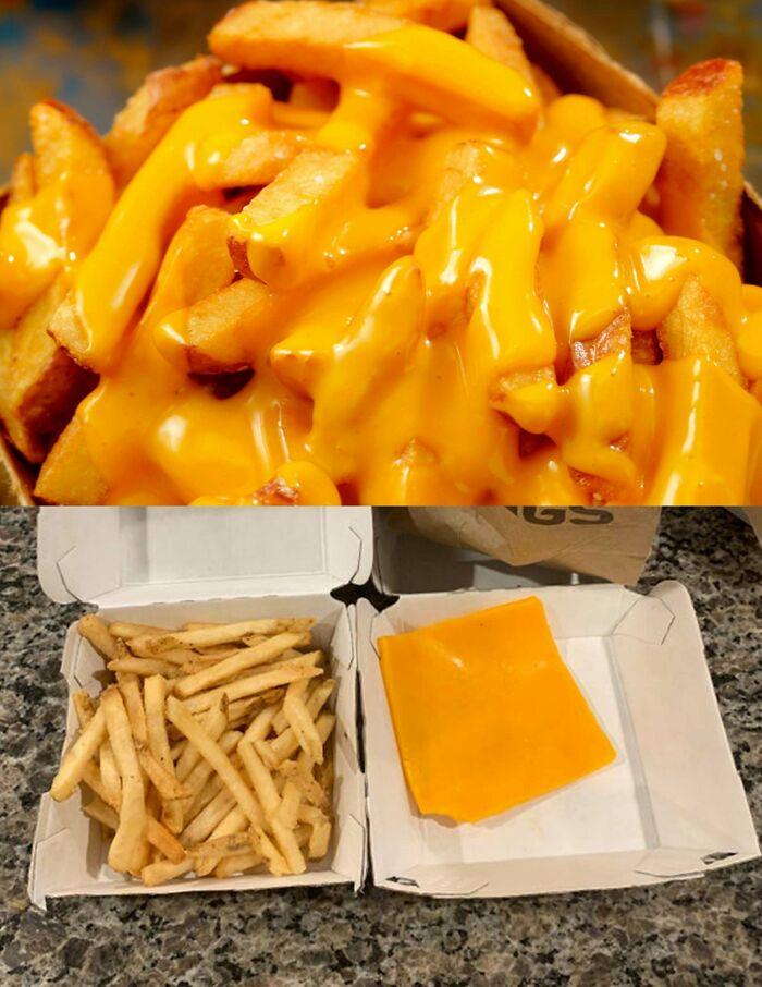 Des frites au fromage mal présentées
