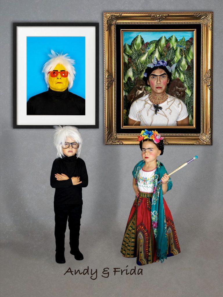 Déguisements de Frida Kahlo et Andy Warhol.