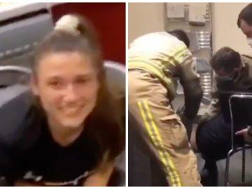 Une étudiante anglaise coincée dans son sèche-linge.