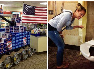 Des toilettes pour obèses et une gondole dans un supermarché aux USA.