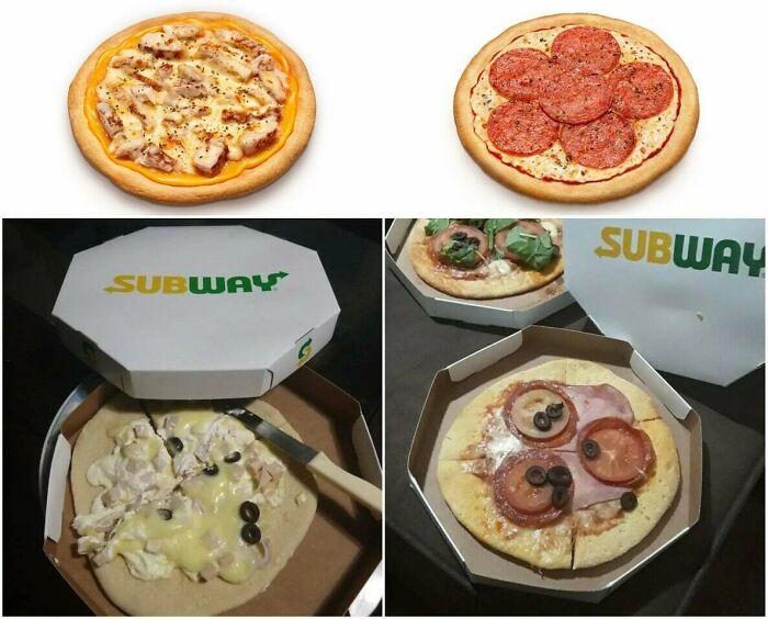 Des pizzas subway ratées