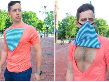 Un tee-shirt avec masque intégré