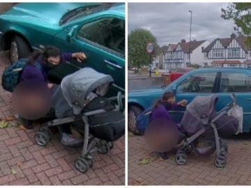 Une passante fait ses besoins derrière une voiture.