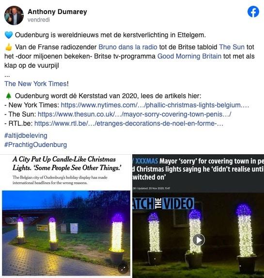 Sur Facebook, le bourgmestre d'Oudenburg publie les articles des médias internationaux sur sa ville