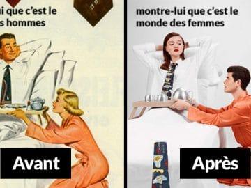Eli Rezkalla détournements publicités sexistes rôles féminins masculins inversés