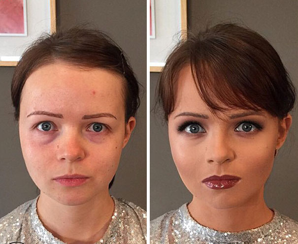 maquillage « effet Cendrillon » avant-après
