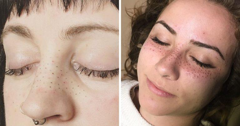 tendance tatouage freckling taches de rousseur