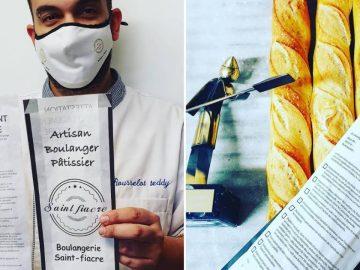 le boulanger et ses attestations imprimées sur le sachet de pain