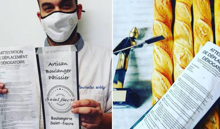 Un boulanger fait imprimer l'attestation de déplacement sur le sachet de ses baguettes pour ses clients