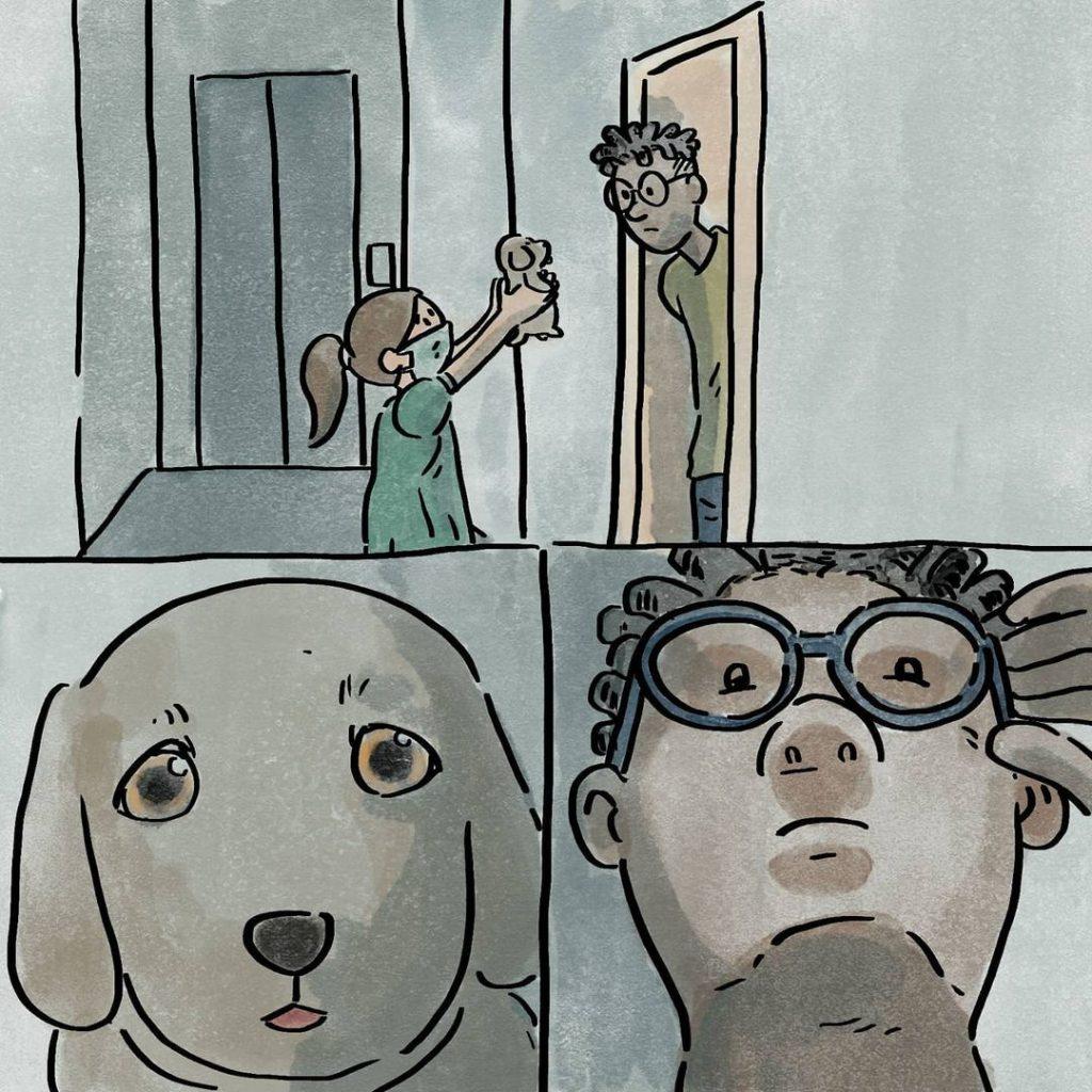 illustrations différence vie avec chien sans chien choix