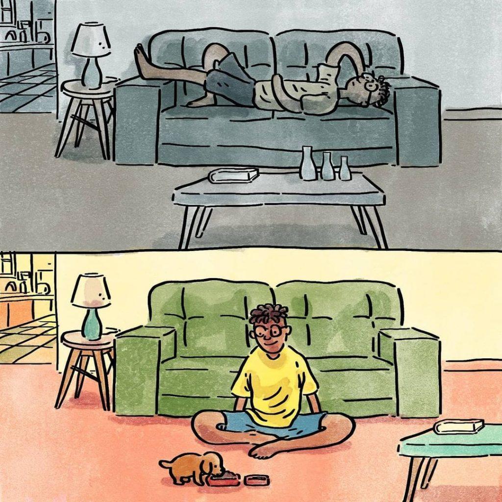 illustrations différence vie avec chien sans chien détente