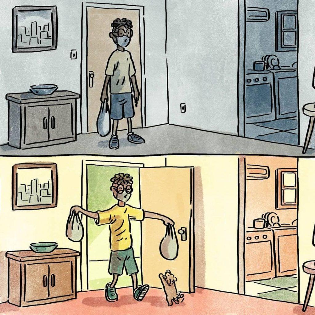 illustrations différence vie avec chien sans chien courses