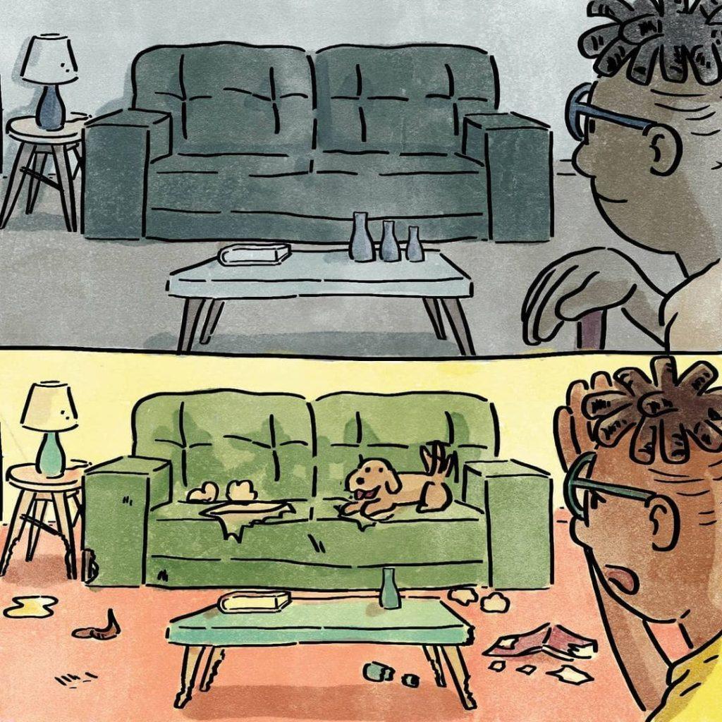 illustrations différence vie avec chien sans chien catastrophes