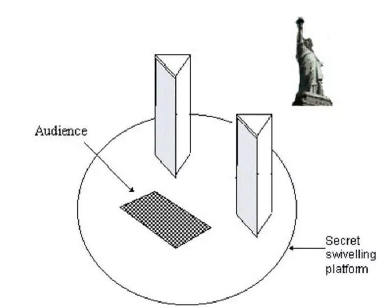 secrets tours de magie disparition statue de la Liberté plaque tournante géante