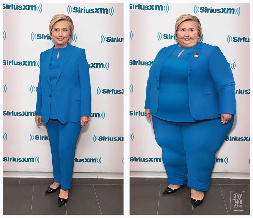 retouches morphologie rondeurs Hilary Clinton