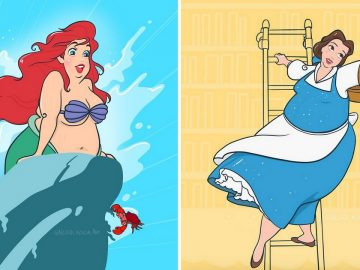 artiste ajoute rondeurs aux princesses Disney