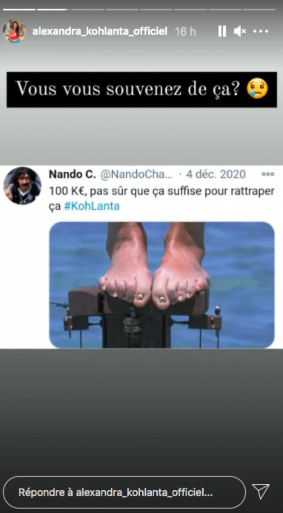Les pieds d'Alexandra de Koh Lanta