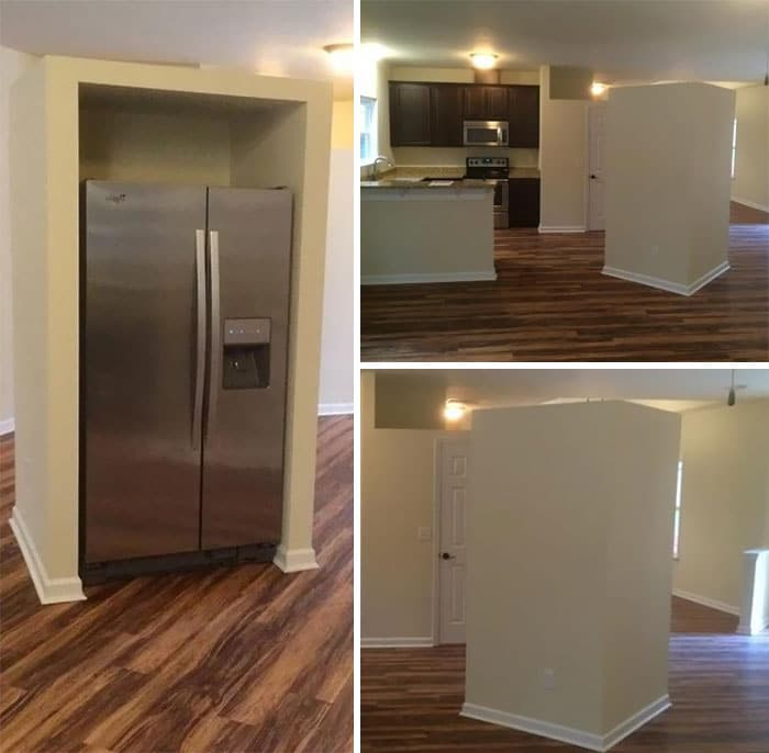 frigo encastré au milieu de la cuisine