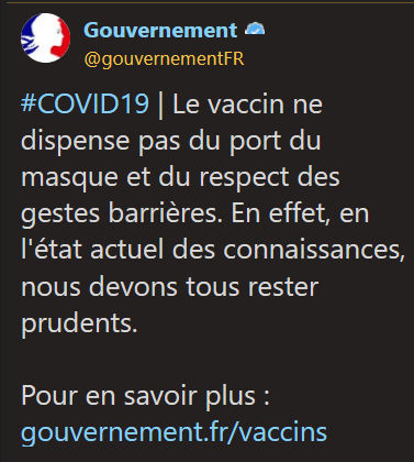 message twitter du gouvernement sur le vaccin