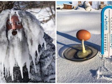 Photos de grand froid : un homme recouvert de glace et un oeuf gelé