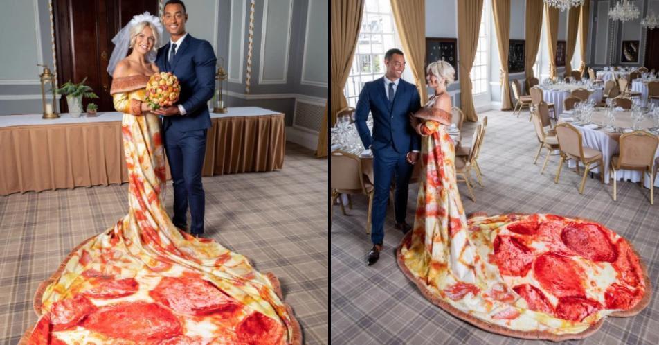 une robe de mariée insolite en pizza