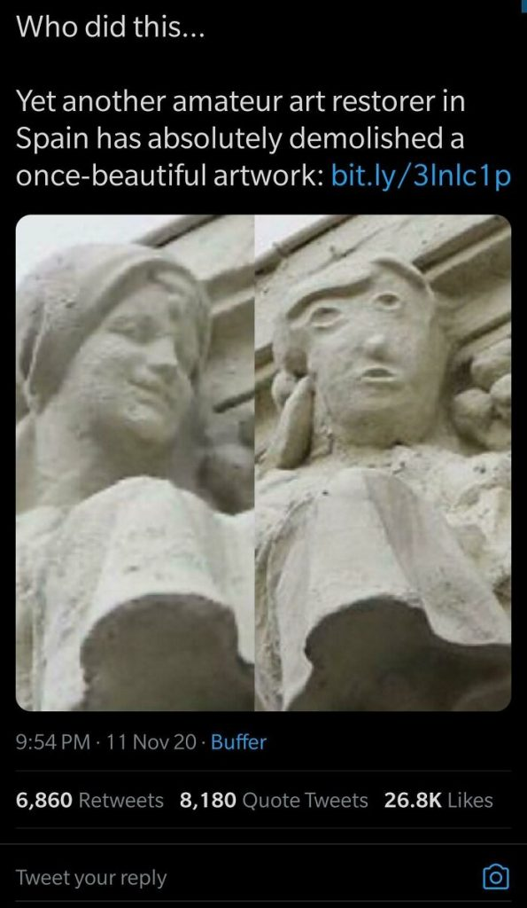 Sculpture mal restaurée
