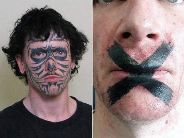 un tatouage sur le visage et la bouche