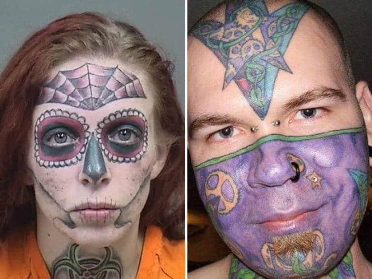 Des tatouages en couleurs sur le visage