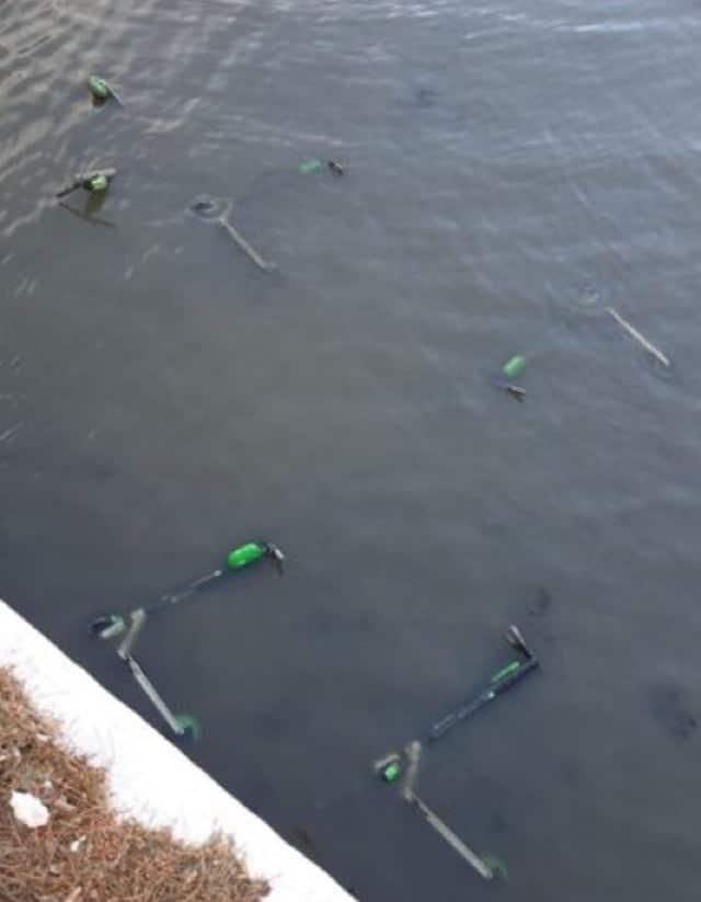 trottinettes jetées dans un fleuve