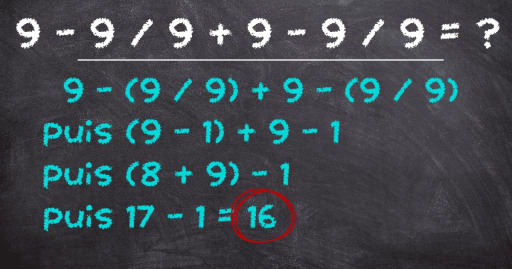 énigme mathématique suite de 9 solution