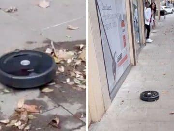 Un aspirateur robot dans les rues de Barcelone