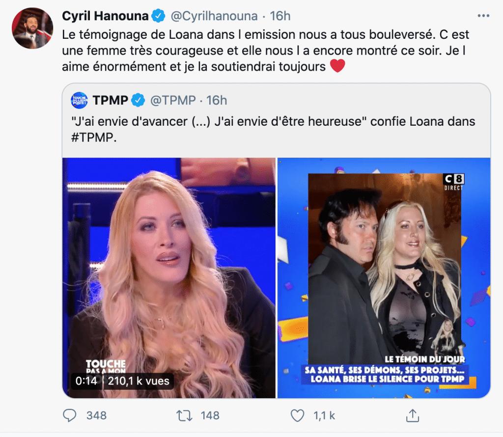 Cyril Hanouna apporte son soutien à Loana sur Twitter