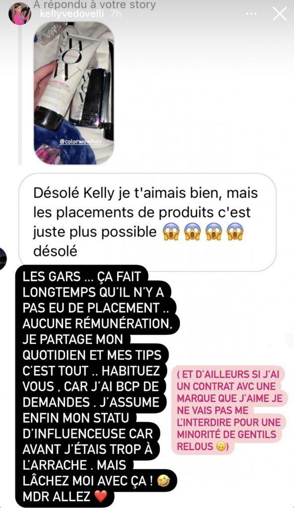 Kelly Vedovelli sur Instagram