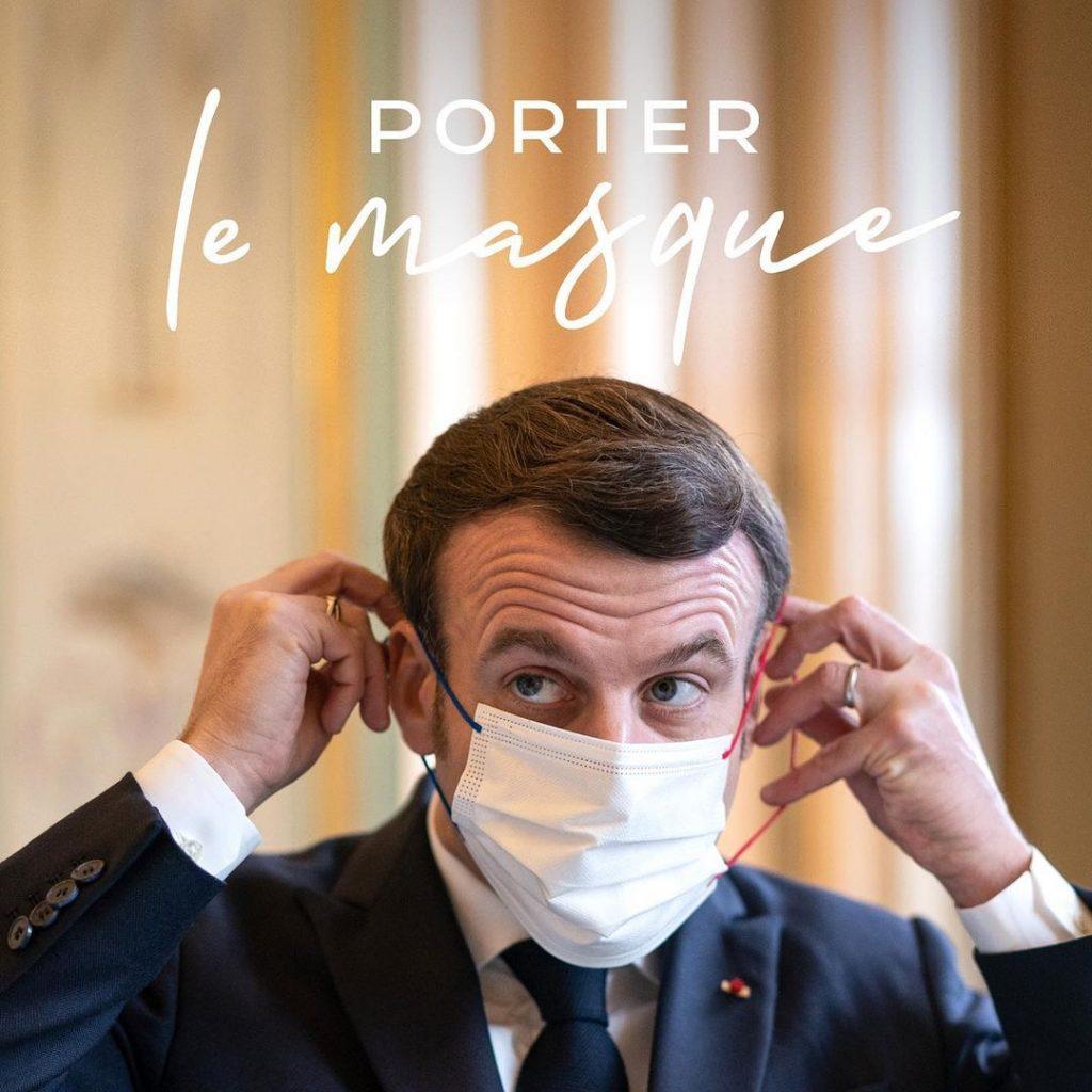 Post d'Emmanuel Macron pour rappeler les gestes barrières