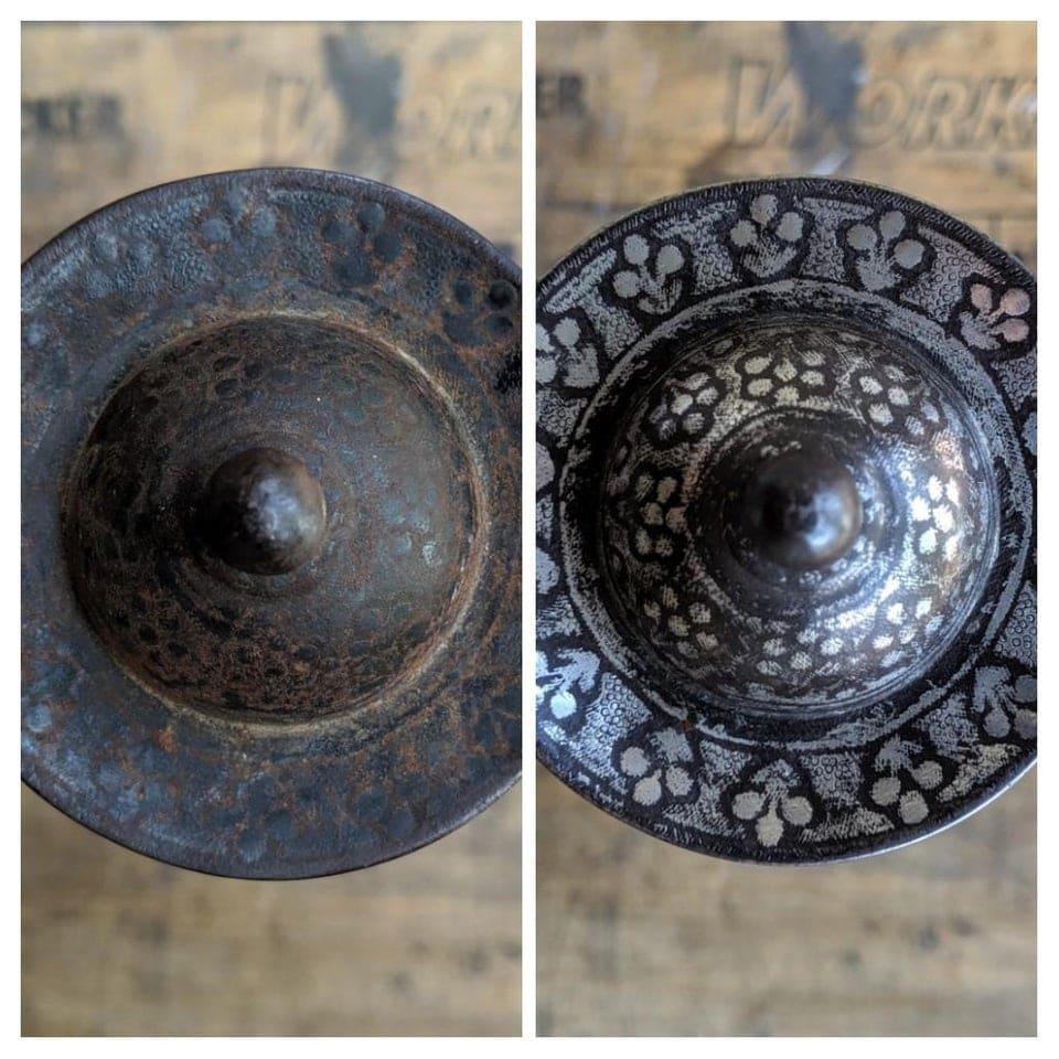 Le manche d'une ancienne épais avant et après restauration