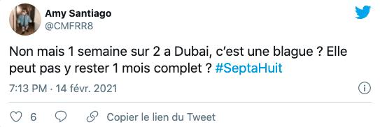 Tweet sur Magali Berdah et sa maison à Dubaï