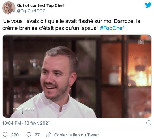 Réaction d'un internaute au lapsus de Baptiste dans Top Chef