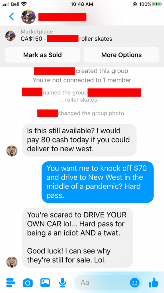 Un acheteur relou sur Internet