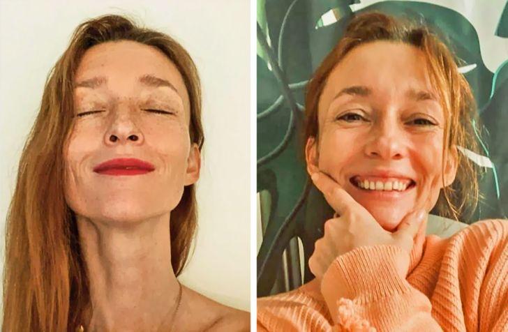 Audrey Marnay avec et sans maquillage