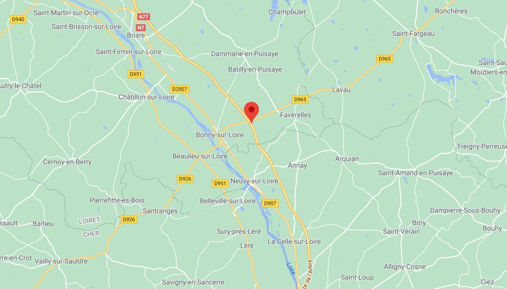 Carte google map de la Nièvre