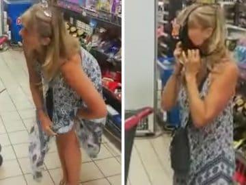 Une cliente dans un supermarché en Afrique du Sud.