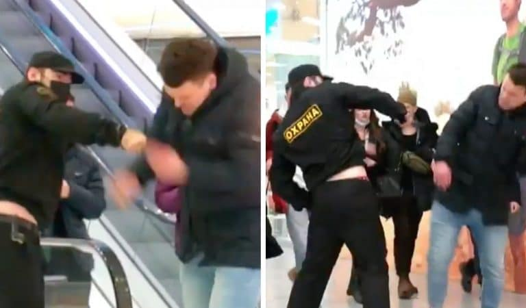 Caméra cachée: un faux-agent de sécurité matraque un passant sans masque pour inciter les autres personnes à le porter