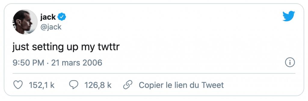 Tweet du fondateur de Twitter, Jack Dorsey