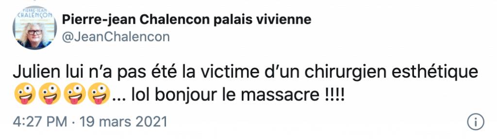 Tweet de Pierre-Jean Chalençon sur Caroline Margeridon