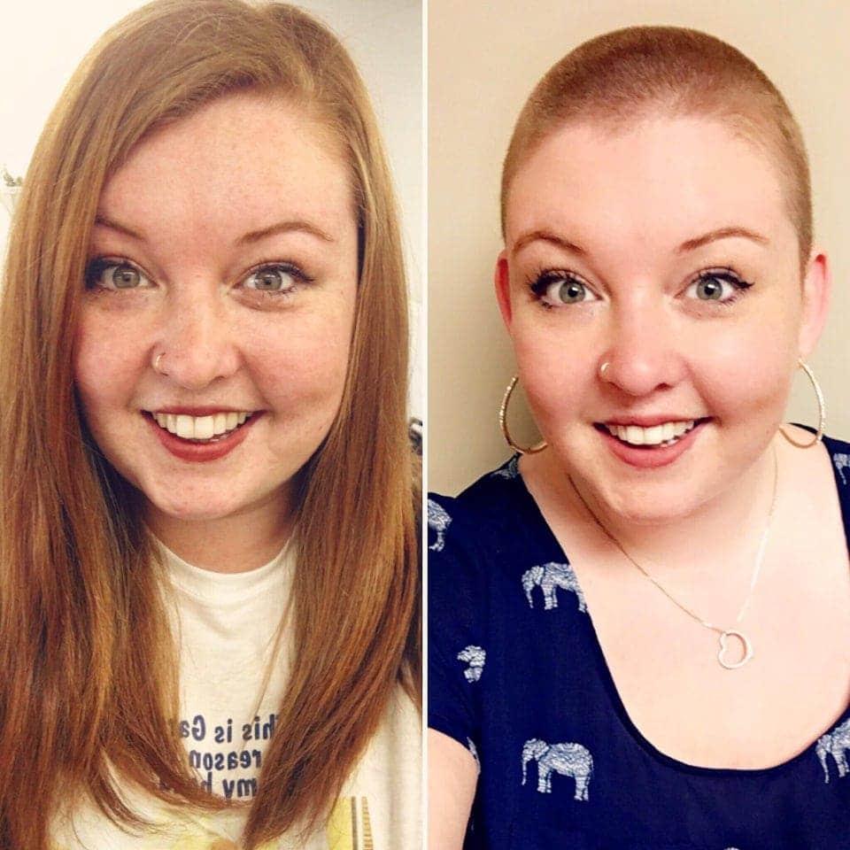 Une personne généreuse qui fait don de ses cheveux à une oeuvre de charité