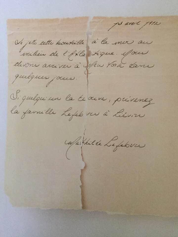Lettre probablement rédigée par Mathilde Lefebvre à bord du Titanic, en 1912.