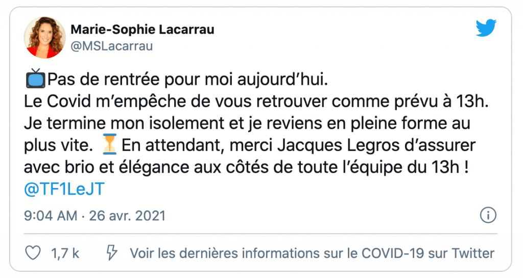 Un tweet de Marie-Sophie Lacarrau