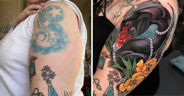 Un tatouage raté recouvert par un sublime tatouage