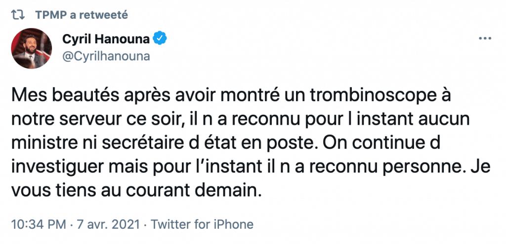 Tweet de Cyril Hanouna
