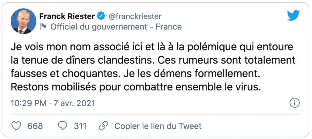 Tweet de Franck Riester